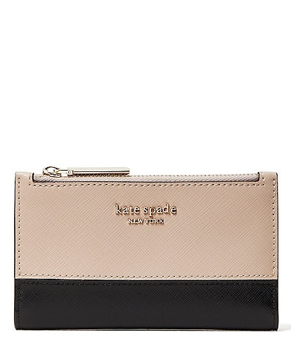 kate spade new york Spencer Soft Saffiano Snap Small Slim Bi-Fold Wallet