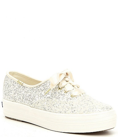 keds x kate spade new york Triple Ks Platform Glitter Sneakers