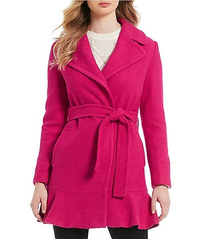 kate spade new york Wrap Flounce Hem Wool Blend Coat