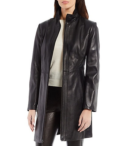 Katherine Kelly Genuine Lamb Leather Long Sleeve Zip Front Stand Collar Jacket