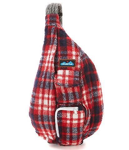 Kavu Plaid Fuzzy Rope Sling Bag