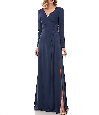 Kay Unger Adelina Ruched Front Long Sleeve Front Slit Stretch Faille Gown