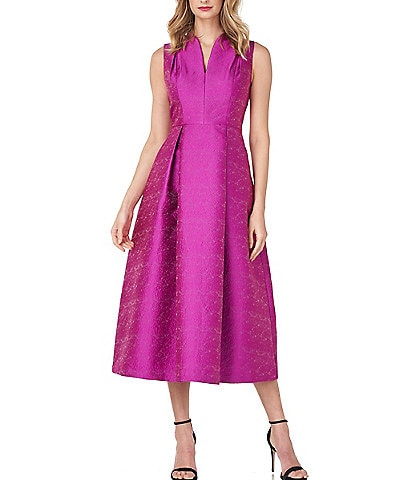 Kay Unger Allegra Textured Jacquard Sleeveless Midi Party Dress