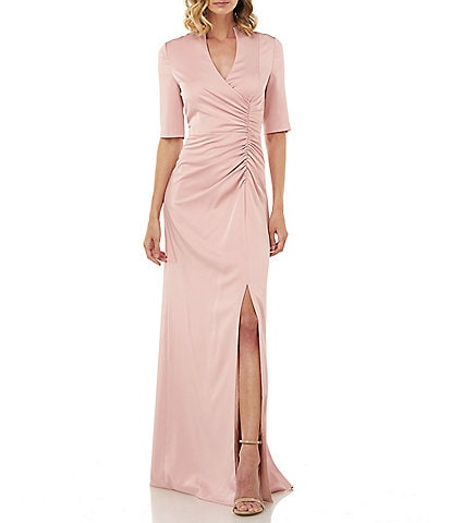 Kay Unger Ashley Side Ruched V-Neck Elbow Sleeve Stretch Faille Gown