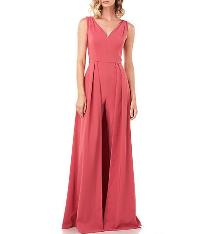Kay Unger Avery V-Neck Sleeveless Stretch Crepe Walk-Thru Jumpsuit