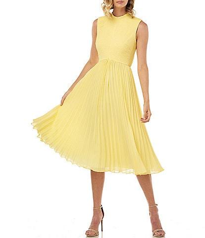 Kay Unger Beatrice Pleated Sleeveless Chiffon Midi Dress