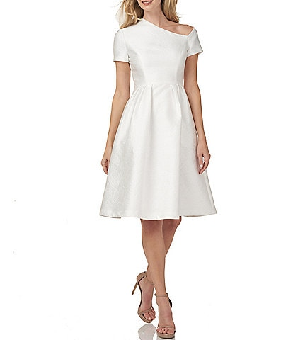 Kay Unger Bianca Asymmetrical Neck Short Sleeve Pleated Jacquard Dress