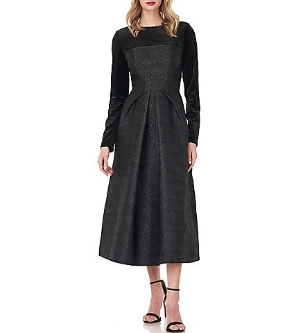Kay Unger Blaire Stretch Velvet Long Sleeve Textured Metallic Jacquard Midi Dress