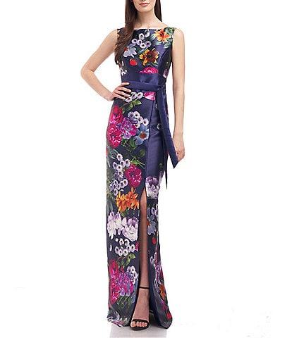 Kay Unger Floral Sleeveless Mikado Sash Waist Gown