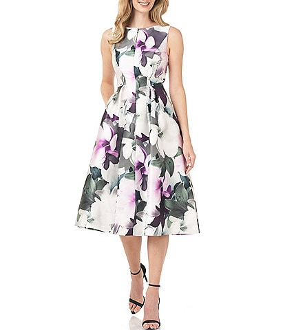 Kay Unger Boat Neck Sleeveless Floral Printed Mikado Dress