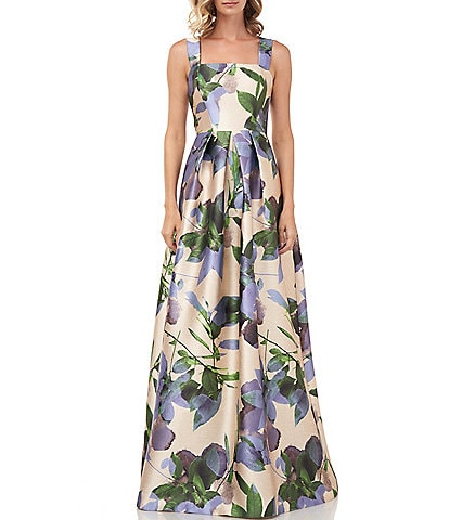 Kay Unger Brittney Printed Floral Mikado Square Neck Sleeveless Ball Gown