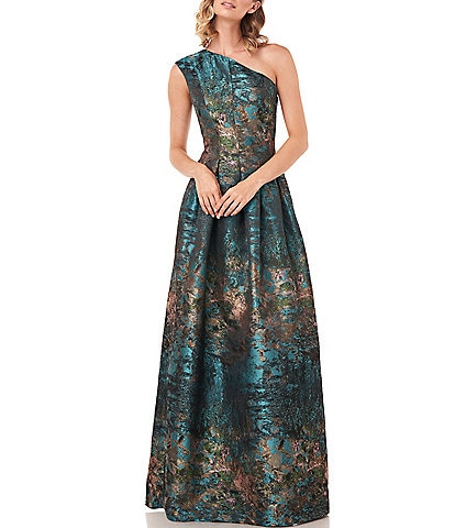 Kay Unger Cara One Shoulder Jacquard Gown