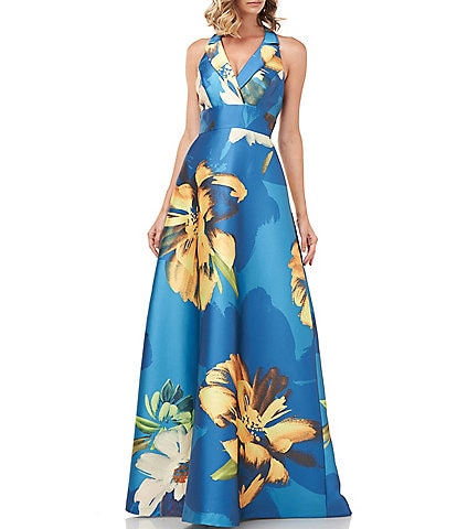 Kay Unger Carolina Floral Mikado Halter V-Neck Sleeveless Ball Gown