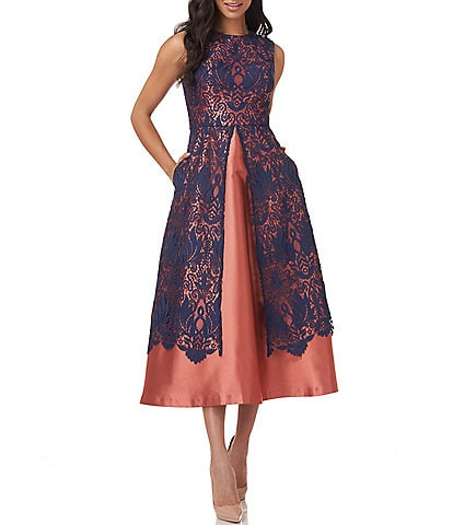 Kay Unger Claudia Twill and Lace Tea Length Dress