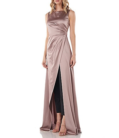 Kay Unger Constance Stretch Satin Sleeveless Ruched Bodice Walk Thru Jumpsuit
