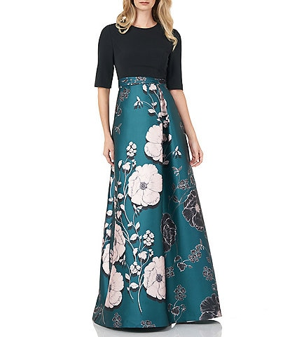 Kay Unger Crepe Bodice Floral Printed Mikado Ball Gown