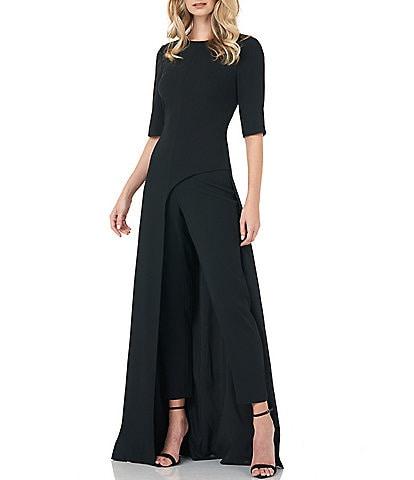 Kay Unger Davina Asymmetrical Stretch Crepe Walk Thru Jumpsuit Gown