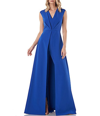 Kay Unger Delaney V-Neck Pleated Bodice Detail Crepe Walk Thru Jumpsuit