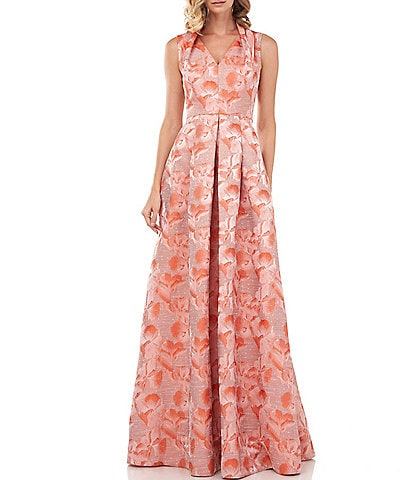 Kay Unger Evie Floral Jacquard Sleeveless Ball Gown