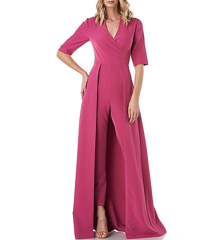 Kay Unger Faith Stretch Crepe Elbow Sleeve Walk Thru Jumpsuit