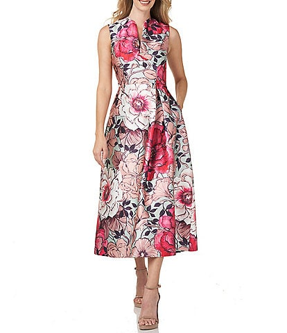 Kay Unger Floral Mikado Split V-Neck A-Line Midi Dress