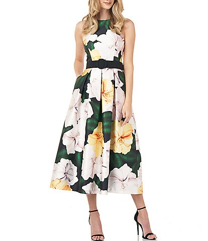 Kay Unger Floral Mikado Crew Neck Fit & Flare Belted Midi Dress