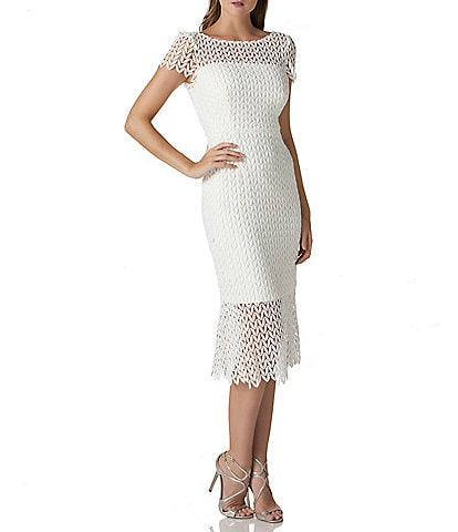 Kay Unger Flounce Hem Illusion Lace Cap Sleeve Scalloped Midi Dress