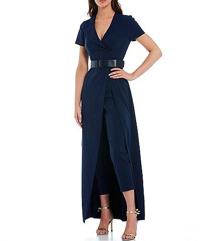 Kay Unger Garcelle Stretch Crepe V-Neck Short Sleeve Belted Walk Thru Jumpsuit Gown
