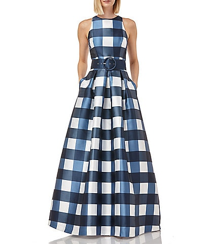 Kay Unger Gingham Sleeveless Belted Waist Pocketed Full Skirt Mikado Gown