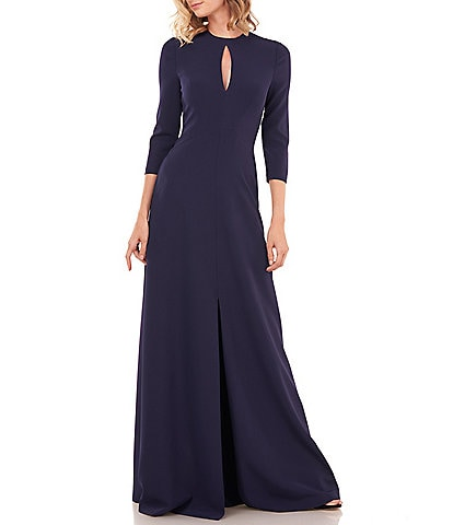 Kay Unger Hannah Keyhole Detail 3/4 Sleeve A-Line Gown