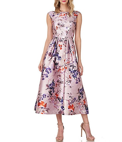 Kay Unger Harley Sleeveless Floral Print Fit & Flare Mikado Midi Dress