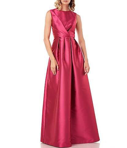 Kay Unger Josephine Lola Pleated Jewel Neck Bodice Sleeveless Ballgown with Pockets