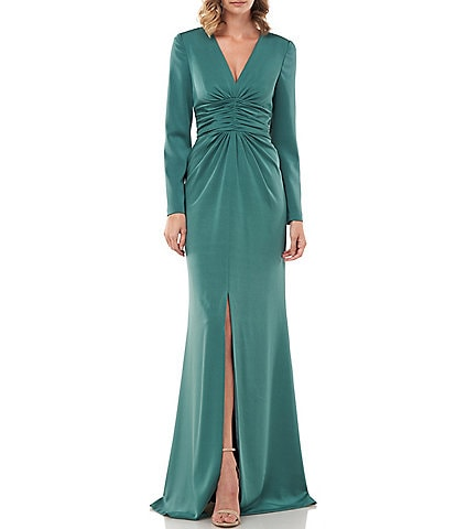 Kay Unger Kayla Stretch Vaille Plunge V-Neck Long Sleeve Ruched Waist Front Slit Gown