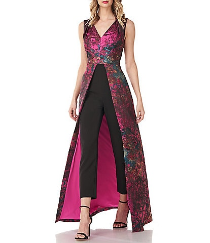 Kay Unger Kelsey Abstract Jacquard V-Neck Sleeveless Walk Thru Jumpsuit