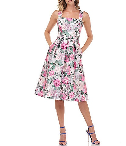 Kay Unger Kylie English Floral Print Tivoli Jacquard Pleated Square Neck Sleeveless Party Dress