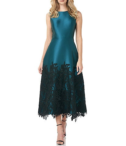 Kay Unger Lace Applique Lola Twill Party Dress