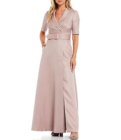Kay Unger London Portrait Collar A-Line V-Neck Elbow Sleeve Jumpsuit Belted Gown