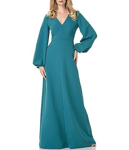 Kay Unger Long Bishop Sleeve V-Neck Crepe A-Line Dress