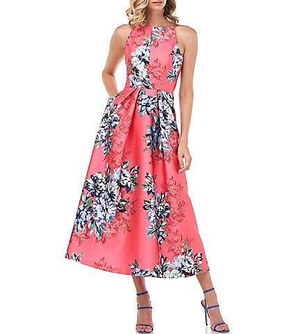 Kay Unger Madeline Floral Print Mikado High Square Neck Sleeveless Fit & Flare Tea Length Dress