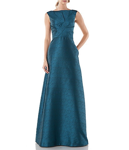 Kay Unger Marla Pleated Textured Jacquard Sleeveless Ball Gown