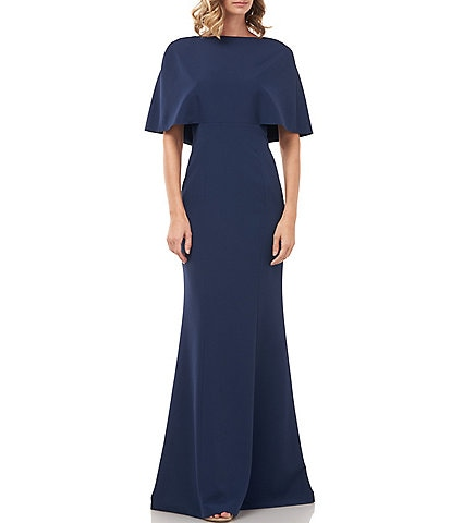 Kay Unger Monroe Capelet Stretch Crepe Gown