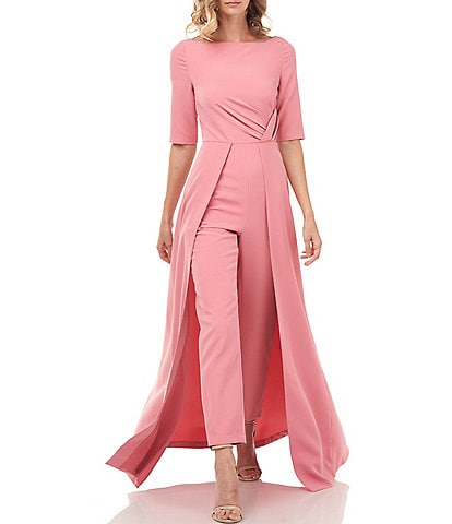 Kay Unger Natalie Elbow Sleeve Stretch Crepe Walk Thru Jumpsuit