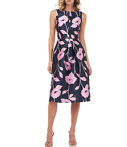 Kay Unger Nola Floral Jacquard Sleeveless Fit & Flare Midi Dress
