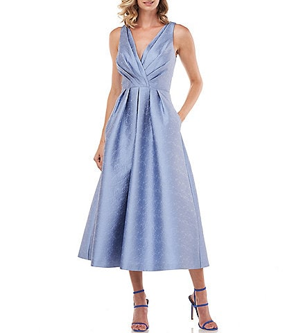 Kay Unger Olivia Pleated Bodice Textured Jacquard V-Neck Sleeveless Midi Party Dress