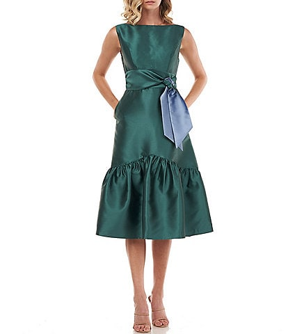 Kay Unger Penelope Twill Sleeveless Bow Detail Ruffle Hem Midi Dress