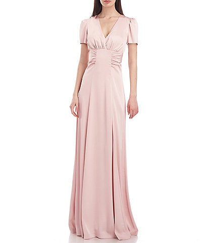 Kay Unger Quinn V-Neck Short Sleeve Side Ruched Charmeuse Gown