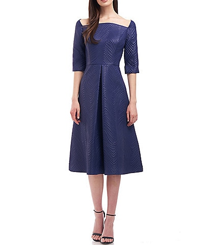 Kay Unger Rylee Midi Curved Square Neck Short Elbow Sleeve Dress
