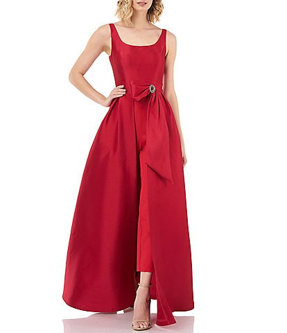 Kay Unger Scoop Neck Walk Thru Jumpsuit with Embellished Brooch Bow Sash