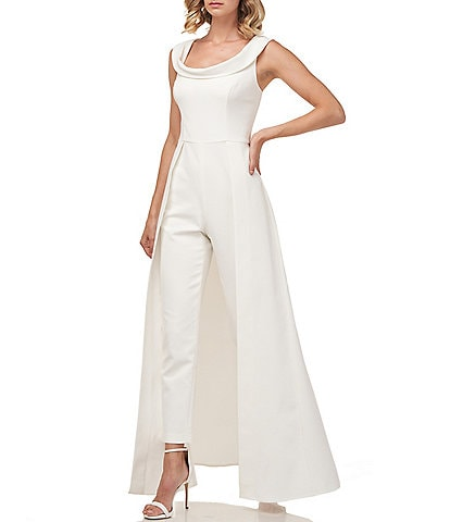 Kay Unger Anais Stretch Crepe Cap Sleeve Walk-Thru Pant And Overlay Cape Skirt Jumpsuit