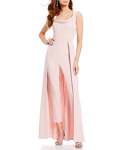 Kay Unger Stretch Crepe Sleeveless Walk-Thru Pant And Overlay Cape Skirt Jumpsuit